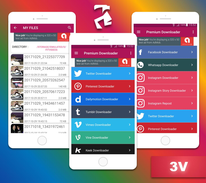 Facebook instagram whatsapp downloader with native ad and startapp